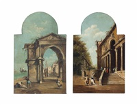 a venetian capriccio with figures, a church through an archway beyond (+ a palace courtyard with elegant figures conversing; pair) by francesco guardi