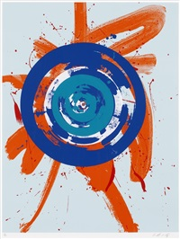 the circle in the orange(sold with 32b, c, d & e; set of 5) by kazuo shiraga