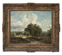 wooded pastoral landscape with figures by théodore fourmois