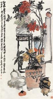 和气一团 立轴 设色纸本 by wu changshuo