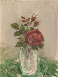 rose rouge, vase verre by pierre laprade