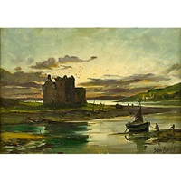 a ruined castle by an estuary by samuel bough