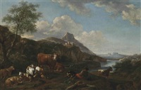 a river landscape with a shepherd and his flock resting, mountains beyond by adriaen van de velde