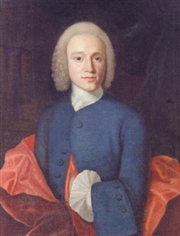 portrait of jorgen wichmand in a blue jacket and a red mantle, standing before a bookshelf by isak wacklin