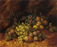 plums, apples, grapes and a peach, on a mossy bank by henry j. livens