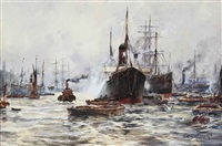 a bustle of activity on the thames, london by frederick william scarborough