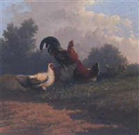 chickens in a pastoral landscape by johan lodewijk van leemputten