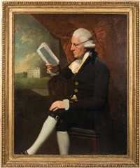 portrait of sir edward cotsford of clyst st george, three-quarter length seated in an interior view through a window to winslade house beyond by lemuel francis abbott