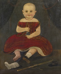 portrait of a child in a red holding a silver bell by william matthew prior