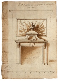 design for the hall chimneypiece at briggens park, stanstead abbots, hertfordshire by sir james thornhill