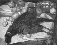 still life with game bird and vegetables by albert janesch