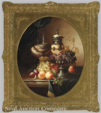 still life with exotic vessels, grapes, peaches and plums by jean laurent