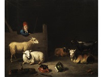 stallinneres mit schafen und ziegen sowie einem knaben mit roter mütze und blauem wams by hubert van ravesteyn