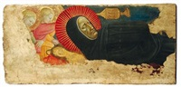 due angeli con monaco by domenico di michelino