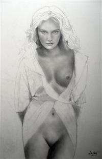 jeune demoiselle au peignoir ouvert by aslan