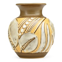 later mat/mat moderne vase with stylized leaves and pods by william e. hentschel