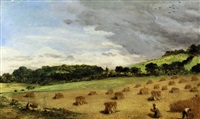 landscape with hay stooks by john rogers herbert