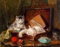 drie katjes spelend met een garenklosje by henriette ronner-knip