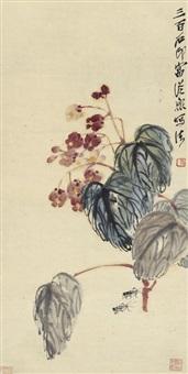 海棠蟋蟀图 (begonia and cricket) by qi baishi