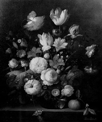 still life of flowers and fruit on a marble ledge by francois gabriel