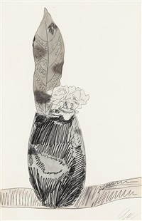 flowers (hand-colored): one print by andy warhol