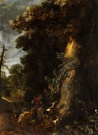 waldrand mit knorriger, dickstämmiger eiche, schafen und ziegen sowie einem kleinen hündchen by pieter lastman