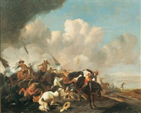 cavalry skirmish (17th cent., ) by philips wouwerman