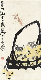 枇杷螳螂图 (loquat and mantis) by qi baishi