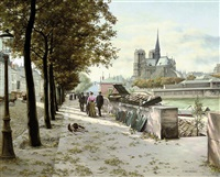 a book stall on the seine, notre dame beyond by abel boulineau