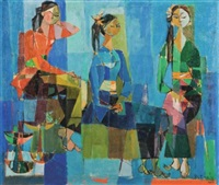 three seated ladies by but mochtar