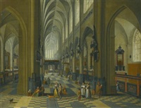 interior of a gothic cathedral with figures promenading in the aisle by peeter neeffs the elder