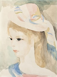 head of a woman wearing a hat by marie laurencin