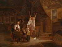 bäuerliches interieur mit einem geschlachteten schwein by gerrit lundens