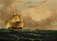 whaling scene with the american bark carolus of new bedford, massachuset by thomas chambers