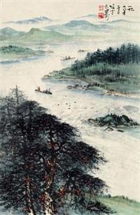 峡江图 镜心 设色纸本 by li xiongcai