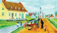 quebec village & church, summer by blanche bolduc
