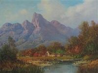 view in the jonkers hoek mountains, stellenbosch by gabriel cornelis de jonge