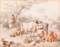 shepherd and woman making music by a flock by dirk van bergen