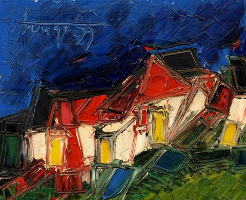 red white houses by francis newton souza