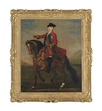an equestrian portrait of prince william augustus, duke of cumberland (1721-1765) wearing the uniform of the red guards and the ribbon and star of the garter by john wootton