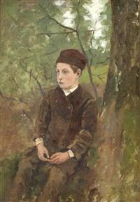 portrait de jeune garçon assis (+ patsage, verso) by sir george clausen