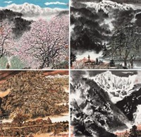 四季小景 (four seasons) (4 works) by li xiaoke