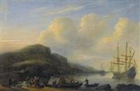 küstenpartie mit segelschiffen und staffage by reinier nooms