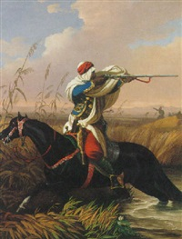 an arab horseman fleeing from attack by károly jacobey