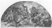 schlachtenszene mit dem die amazonenkönigin hippolyte entführenden theseus by peter von cornelius