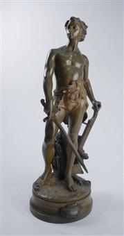 man with sword by adrien étienne gaudez