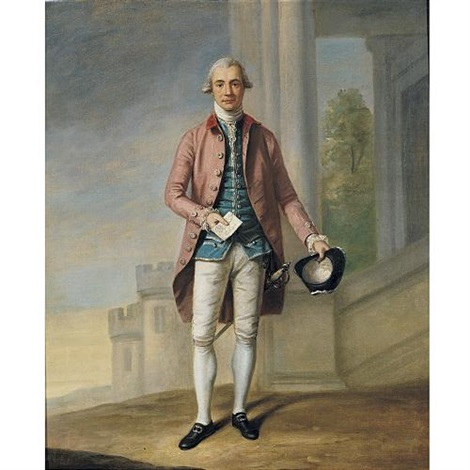 portrait of a gentleman sir james wright with windsor castle beyond by samuel de wilde
