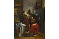 zwei junge frauen bei der toilette by hubertus van hove