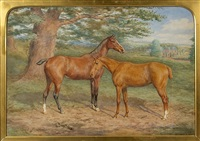 two hunters sheltering under a tree, with large stately home beyond by david george steell