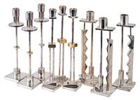 candlesticks (9) (model nos. starlight, moonlight, and silvershade) by ettore sottsass